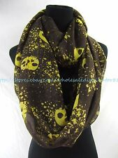US SELLER- fall winter Infinity Scarves Circular gothic skull infinity scarf
