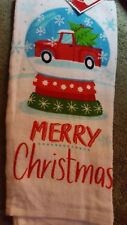 CHRISTMAS 100% Cotton KITCHEN DISH TOWEL RED PICKUP TRUCK Merry Christmas