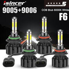 4x F6 Isincer 9005 9006 Led Cree Headlight Bulbs Hi/Lo Beam 4-Sides Super Bright