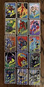 Vintage 1990 Marvel Universe Vending Prism Stickers Set of 15 RARE Trading Card