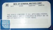 1977-92 Gm Car Or Truck Original Door Jamb Id Number Decal