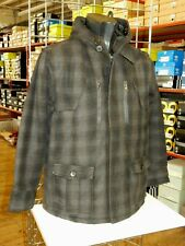 Mens Wool Mix Check pattern Hooded Coat Jacket