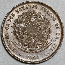 1901 Brazil 20 Reis UNC Coin (20042204R)