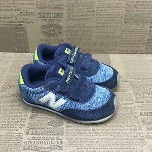 New Balance Toddler Kids J. Crew KE410YEI Blue Running Shoes Hook And Loop 8 M