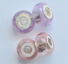 Set of 4 Rhona Sutton 925 sterling silver core Rose/Lilac Glass Charm Beads