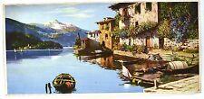 Stampa antica grande cm. 37,5 x 78,5 GANDRIA Lago di LUGANO 1930 Large Old Print