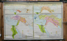 VINTAGE PULL ROLL DOWN HISTORICAL SCHOOL WALL MAP OF THE OLD ORIENT ASIA  CHINA