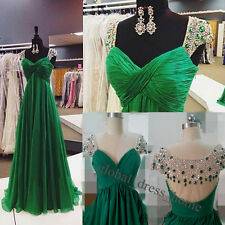 Real Emerald Green Beaded Long Prom Party Pageant Dresses Evening Gowns Custom