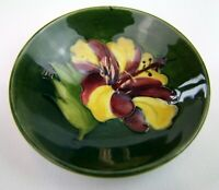Stunning Moorcroft Hibiscus Pattern Small Dish. Made in England!