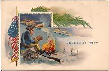 """February 22nd"" Soldier at Campfire Washington's Birthday Patriotic Postcard"