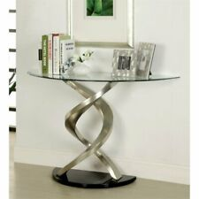 Furniture of America Marisa Glass Top Console Table in Satin