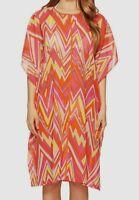 $898 M Missoni Swimwear Women's Pink Jewel Neck Kaftan Kimono-Sleeve Cover-Up L