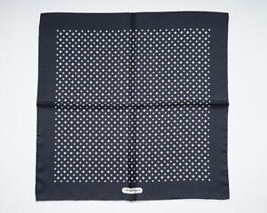 "Salvatore Ferragamo New Navy White Gancini Pattern Silk Pocket Square 13"""