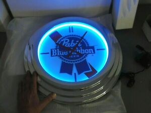 """PABST BLUE RIBBON BEER NEON LIGHTED CLOCK 🕔 BAR PUB MANCAVE 17"""" NEW IN BOX"""
