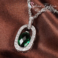 18K White Gold Plated Made With Swarovski Crystal Long Oval Emerald Necklace