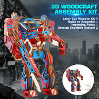 DIY 3D Woodcraft Wooden Robot Puzzle Construction Jigsaw Kids Kit Toy Model