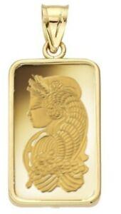 5 Gram Pamp Suisse .999 Lady Fortuna Bar Pendant 24MMX15MM Encased in 14k Gold