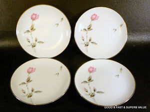 """4 pcs STYLE HOUSE fine china DAWN ROSE pattern ~ 4 Bread & Butter Plates ~ 6"""""""