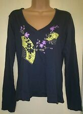 DARK GREY CHARCOAL V NECK FAN FLORAL ORIENTAL COTTON T-SHIRT TUNIC TOP SIZE 8-14