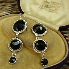 STUNNING STERLING SILVER FACETED ONYX EARRINGS