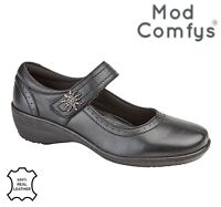 LADIES Memory Foam Padded Mary Jane Strap Shoes Black Leather Size 3 4 5 6 7 8 9