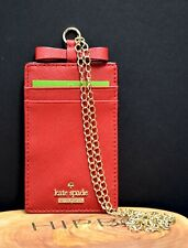 Kate Spade New York Womens Cameron Street Leather Lanyard Card Holder Wallet Red