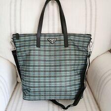 Authentic Prada Large Plaid Print Nylon Shopper Tote Crossbody Shoulder Bag NWT