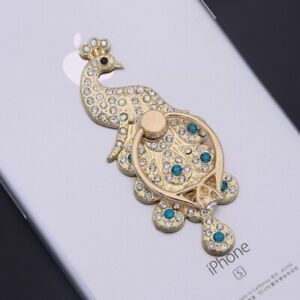 Lilidreamstore 360 Rotate Crystal Cell Phone Ring Stand Holder Kickstand-Peacock