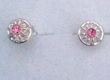 Tachuelas Pendientes de Plata 925 Con Cristales Rosa