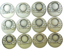 GROUP OF 12 AWARD MEDALS for engraving to recipients silvered-bronze 33mm