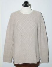 Tahari 100% Cashmere Beige Double Ply Cableknit Crewneck Sweater L