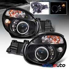 Fit 2002 2003 Subaru Impreza WRX/Outback Black [LED Halo] Projector Headlights