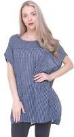 Ladies Oversized Scoop Neck Italian Lagenlook Stripe Linen / Cotton Tunic Top