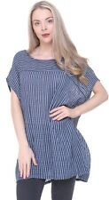 Ladies Oversized Scoop Neck Italian Lagenlook Stripe Design Linen / Cotton Tunic