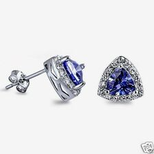 USA Seller Triangle Stud Earrings Sterling Silver 925 Best Jewelry Tanzanite CZ