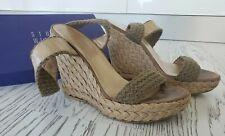 Stuart Weitzman Criss-Cross Nude Wave fabric Espadrille-Wedge sandals size 9