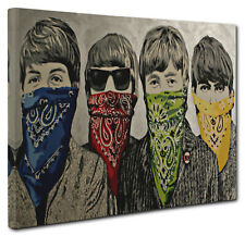 Banksy The Beatles Bandanas Canvas picture Wall Art Print Size A4 20x30cm