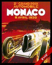 VINTAGE 2ND GRAND PRIX AUTO RACE MONACO 1930 AD POSTER ART REAL CANVAS PRINT
