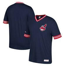 Mitchell & Ness Cleveland Indians Navy/Red Overtime Win Vintage V-Neck T Shirt