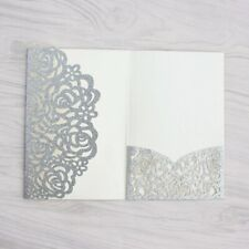 50x Silver Personalised Laser Cut Wedding Day Evening Invitation Card +Envelope
