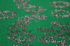 Ponte Roma Jersey Lurex Floral Panel Print Dress Fabric Material Emerald/Silver