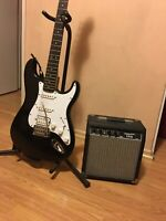 Fender Starcaster Strat Electric Guitar, And Starcaster 15g Stereo Amp