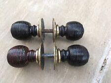 2 Pairs Of Original Victorian door knobs Wood & Brass Beehive Gorgeous