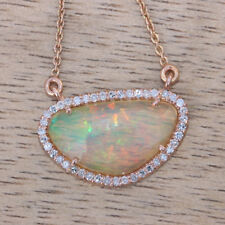 Genuine Opal Gemstone Charm Pendant Solid 14k Rose Gold Diamond Pave Jewelry NEW