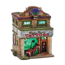Dept 56 Halloween Snow Village Rusty's Needle tattoo parlor 4036587 NEW House