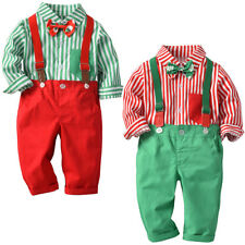 Toddler Baby Boy Shirt+Suspender Striped Pants+Bow Tie Birthday Outfit