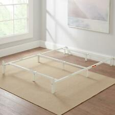 "White Adjustable Metal Bed Frame 7"" For Box Spring Mattress Twin Full Queen Size"