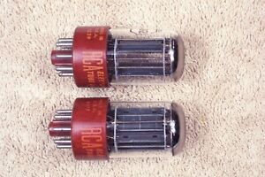 Two, RCA 5692, red base, matching pair, hi reliability 6SN7GT, 5692