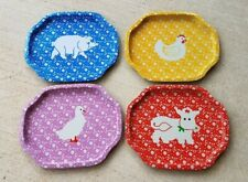 Vintage Small Farm Animals Metal Trays Collectibles Kitchenware Decor Set of 4