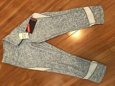 Zella Nordstrom 3/4 Tight White Gray Women's Pants M Med NWT New Yoga Crossfit